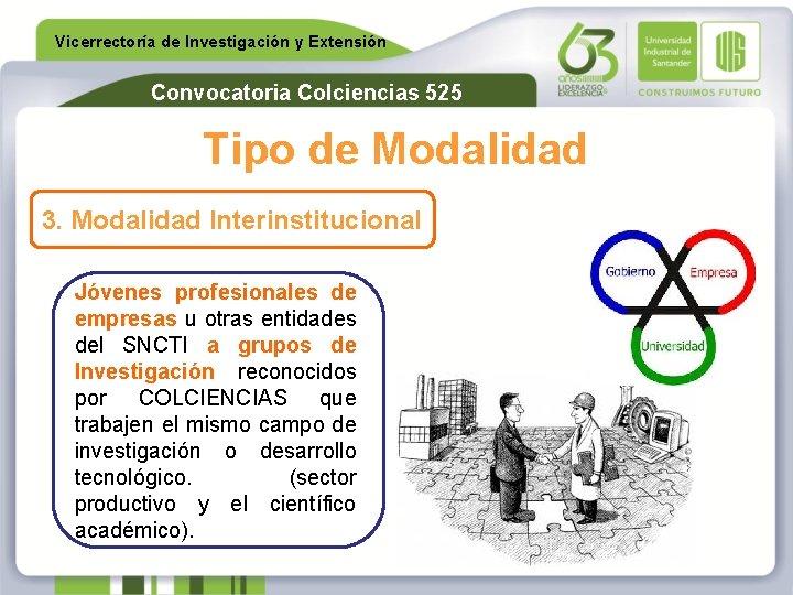 Vicerrectoría de Investigación y Extensión Convocatoria Colciencias 525 Tipo de Modalidad 3. Modalidad Interinstitucional