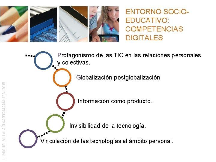 ENTORNO SOCIOEDUCATIVO: COMPETENCIAS DIGITALES Protagonismo de las TIC en las relaciones personales y colectivas.
