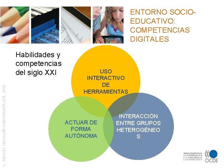 ENTORNO SOCIOEDUCATIVO: COMPETENCIAS DIGITALES L. MIGUEL VILLALAÍN SANTAMARÍA. FEB. 2015 Habilidades y competencias del