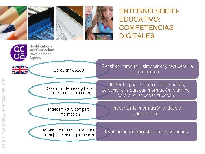 ENTORNO SOCIOEDUCATIVO: COMPETENCIAS DIGITALES L. MIGUEL VILLALAÍN SANTAMARÍA. FEB. 2015 Descubrir cosas Recabar, introducir,
