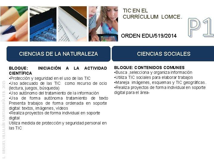 TIC EN EL CURRÍCULUM LOMCE. ORDEN EDU/519/2014 L. MIGUEL VILLALAÍN SANTAMARÍA. FEB. 2015 CIENCIAS