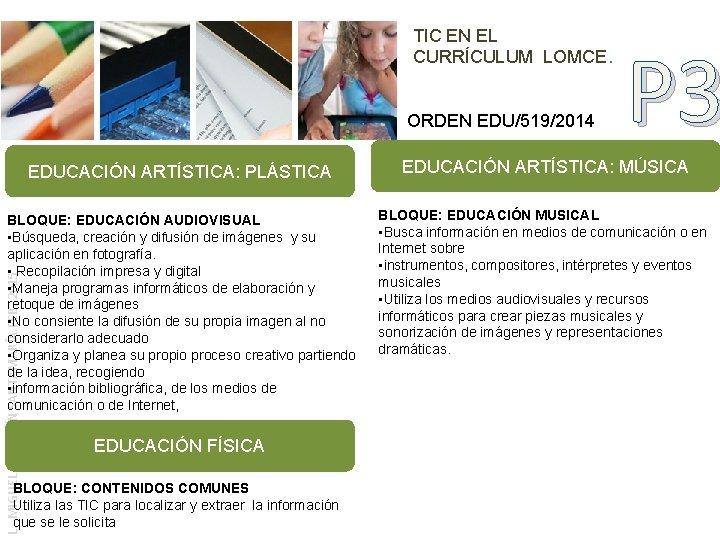 TIC EN EL CURRÍCULUM LOMCE. ORDEN EDU/519/2014 P 3 EDUCACIÓN ARTÍSTICA: MÚSICA BLOQUE: EDUCACIÓN