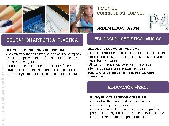 TIC EN EL CURRÍCULUM LOMCE. ORDEN EDU/519/2014 L. MIGUEL VILLALAÍN SANTAMARÍA. FEB. 2015 EDUCACIÓN