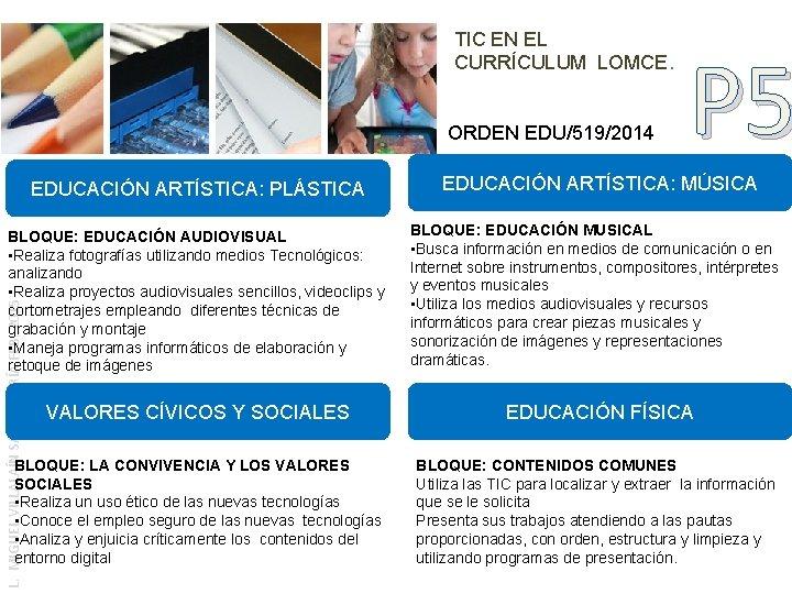 TIC EN EL CURRÍCULUM LOMCE. ORDEN EDU/519/2014 P 5 EDUCACIÓN ARTÍSTICA: MÚSICA BLOQUE: EDUCACIÓN