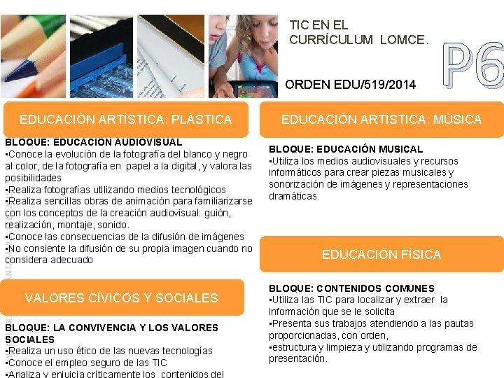 TIC EN EL CURRÍCULUM LOMCE. ORDEN EDU/519/2014 EDUCACIÓN ARTÍSTICA: PLÁSTICA L. MIGUEL VILLALAÍN SANTAMARÍA.