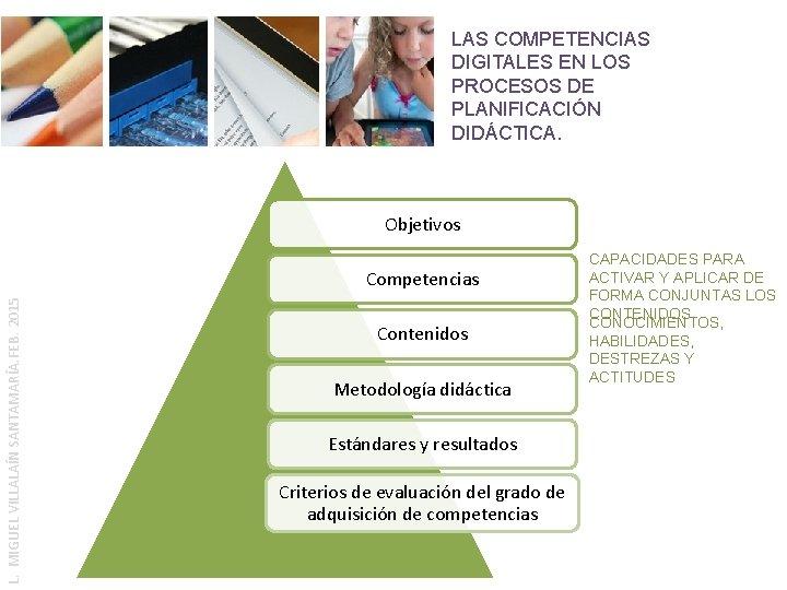 LAS COMPETENCIAS DIGITALES EN LOS PROCESOS DE PLANIFICACIÓN DIDÁCTICA. Objetivos L. MIGUEL VILLALAÍN SANTAMARÍA.