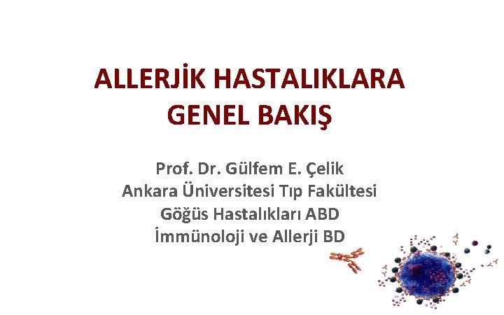 ALLERJİK HASTALIKLARA GENEL BAKIŞ Prof. Dr. Gülfem E. Çelik Ankara Üniversitesi Tıp Fakültesi Göğüs