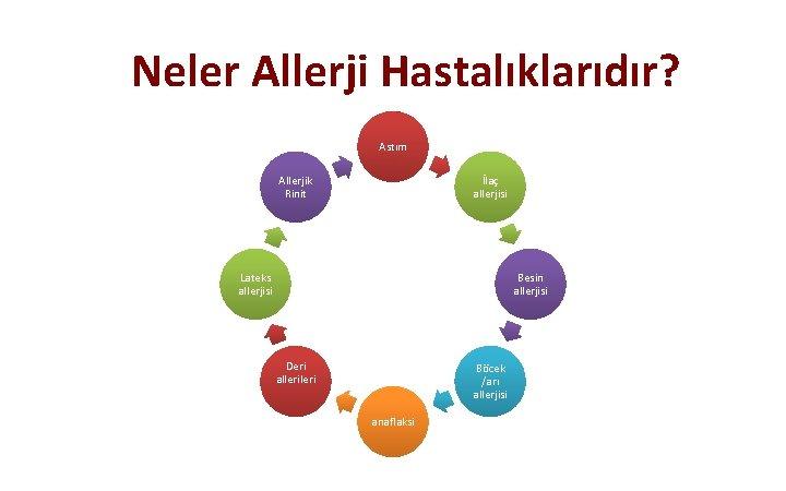 Neler Allerji Hastalıklarıdır? Astım Allerjik Rinit İlaç allerjisi Lateks allerjisi Besin allerjisi Deri alleri