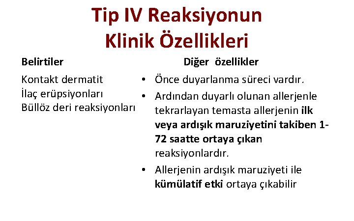 Tip IV Reaksiyonun Klinik Özellikleri Belirtiler Diğer özellikler Kontakt dermatit • Önce duyarlanma süreci