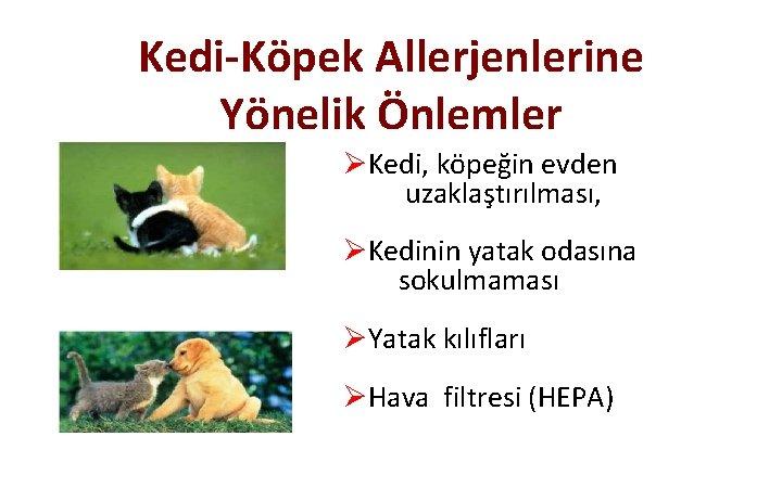 Kedi-Köpek Allerjenlerine Yönelik Önlemler ØKedi, köpeğin evden uzaklaştırılması, ØKedinin yatak odasına sokulmaması ØYatak kılıfları