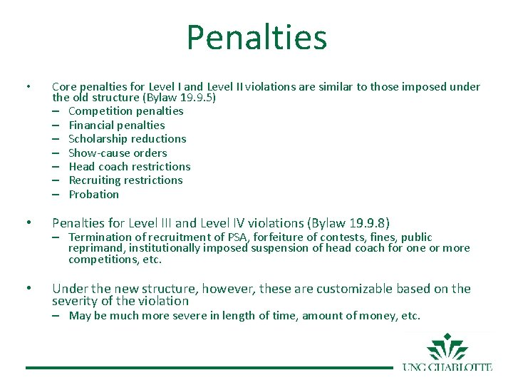 Penalties • Core penalties for Level I and Level II violations are similar to