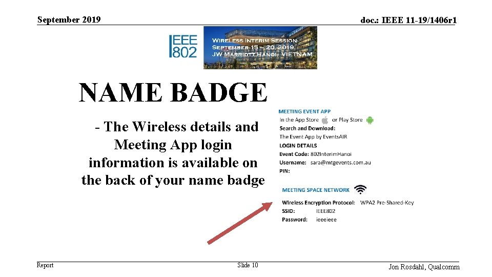 September 2019 doc. : IEEE 11 -19/1406 r 1 NAME BADGE - The Wireless