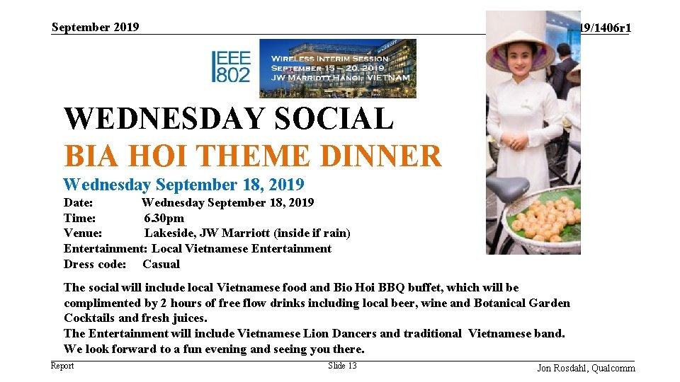 September 2019 doc. : IEEE 11 -19/1406 r 1 WEDNESDAY SOCIAL BIA HOI THEME