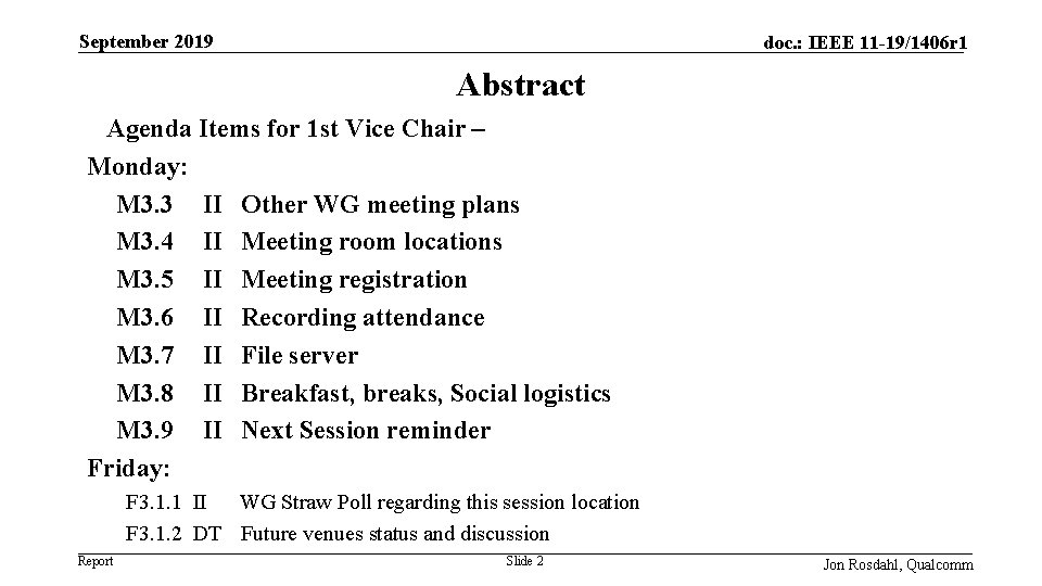 September 2019 doc. : IEEE 11 -19/1406 r 1 Abstract Agenda Items for 1