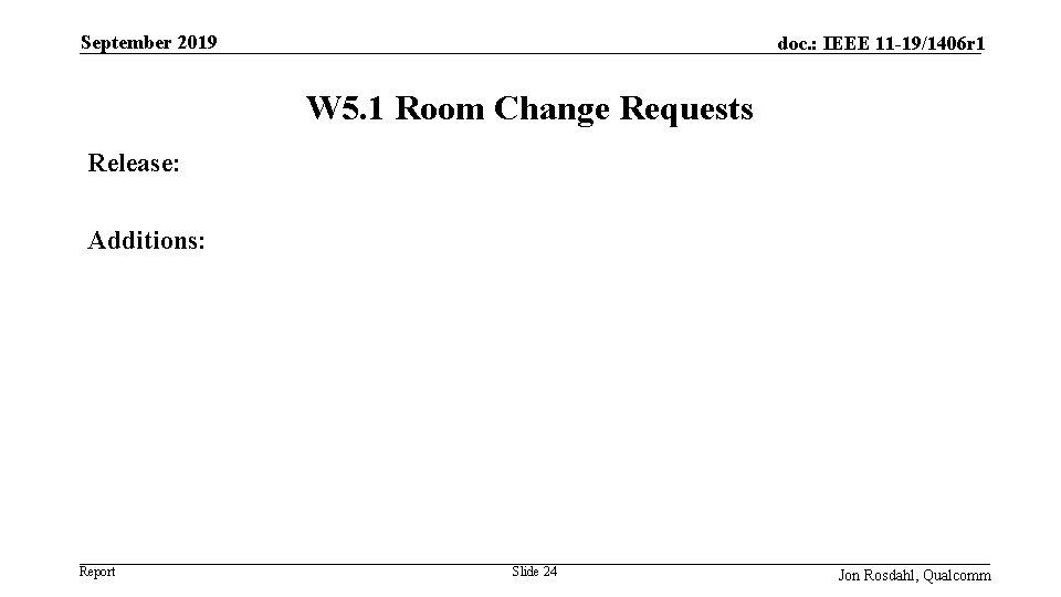 September 2019 doc. : IEEE 11 -19/1406 r 1 W 5. 1 Room Change
