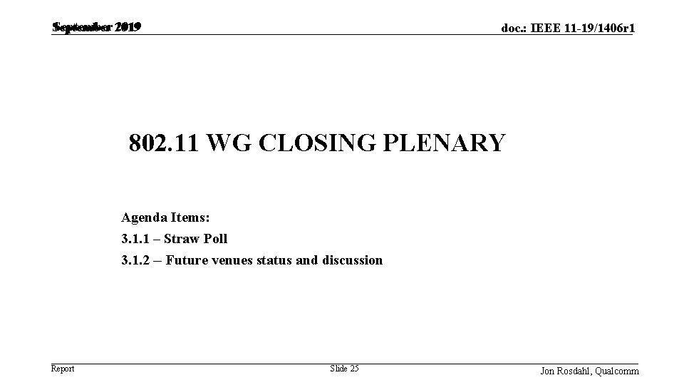 September 2019 doc. : IEEE 11 -19/1406 r 1 802. 11 WG CLOSING PLENARY
