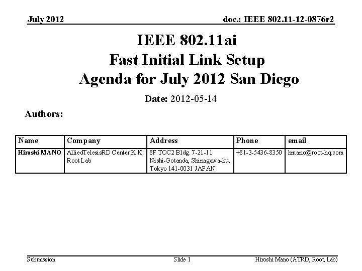 July 2012 doc. : IEEE 802. 11 -12 -0876 r 2 IEEE 802. 11