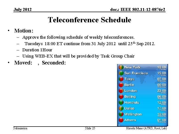 July 2012 doc. : IEEE 802. 11 -12 -0876 r 2 Teleconference Schedule •