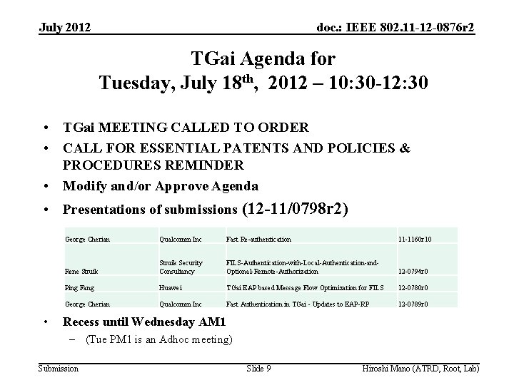 July 2012 doc. : IEEE 802. 11 -12 -0876 r 2 TGai Agenda for