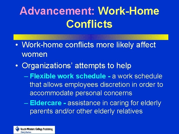 Advancement: Work-Home Conflicts • Work-home conflicts more likely affect women • Organizations' attempts to