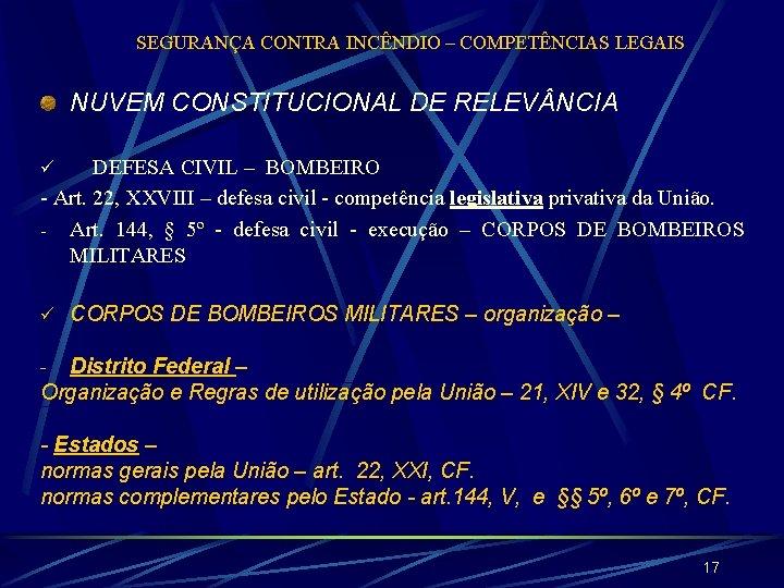 SEGURANÇA CONTRA INCÊNDIO – COMPETÊNCIAS LEGAIS NUVEM CONSTITUCIONAL DE RELEV NCIA DEFESA CIVIL –
