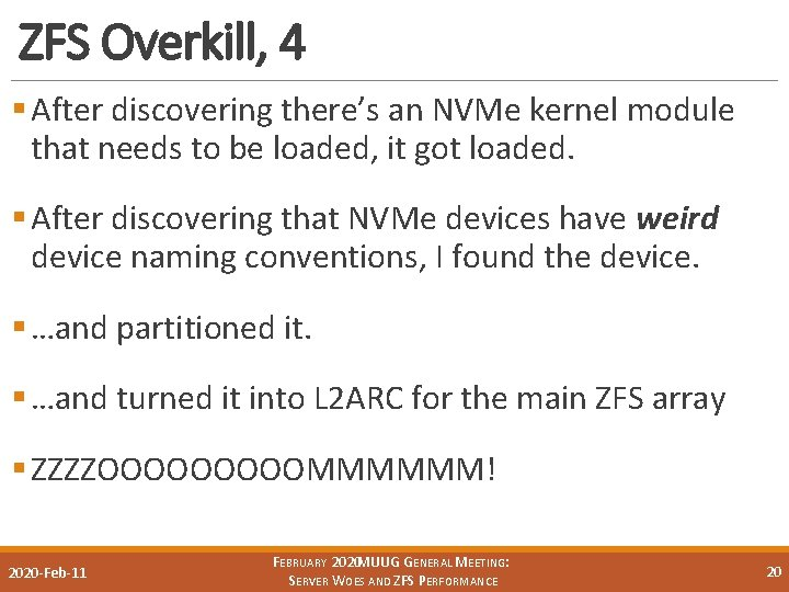 ZFS Overkill, 4 § After discovering there's an NVMe kernel module that needs to