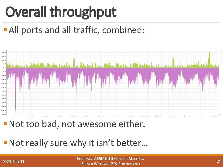 Overall throughput § All ports and all traffic, combined: § Not too bad, not