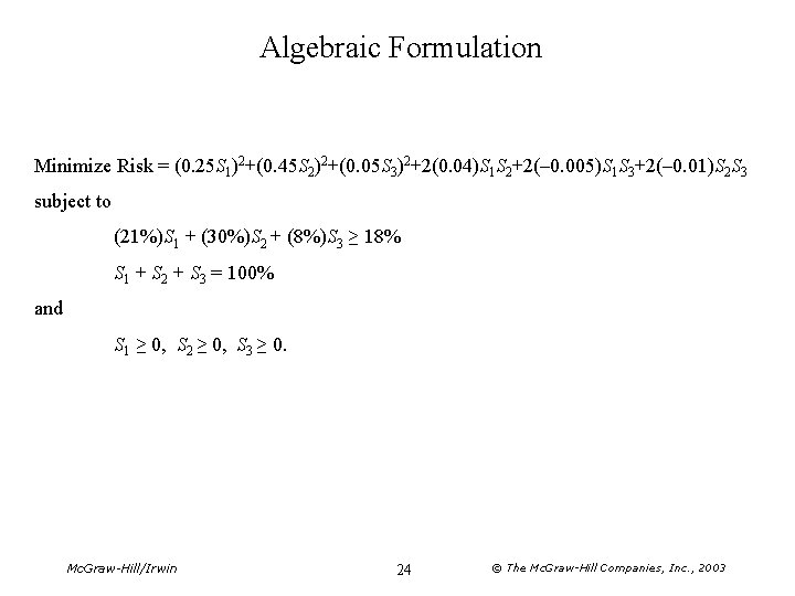 Algebraic Formulation Minimize Risk = (0. 25 S 1)2+(0. 45 S 2)2+(0. 05 S