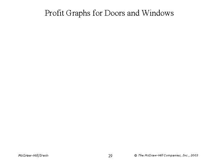 Profit Graphs for Doors and Windows Mc. Graw-Hill/Irwin 29 © The Mc. Graw-Hill Companies,