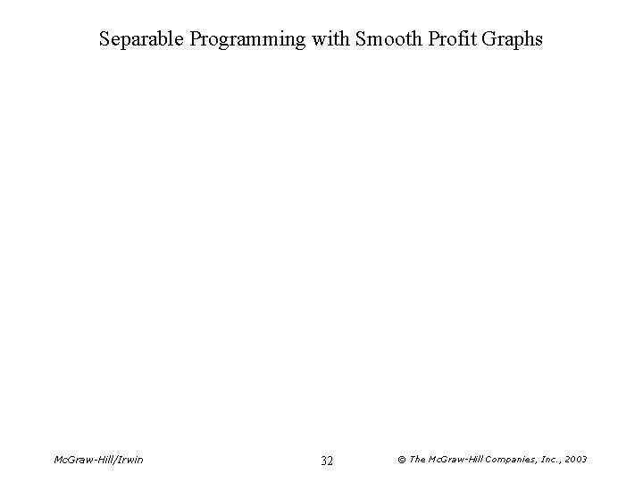 Separable Programming with Smooth Profit Graphs Mc. Graw-Hill/Irwin 32 © The Mc. Graw-Hill Companies,