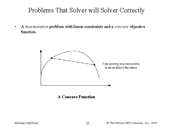 Problems That Solver will Solver Correctly • A maximization problem with linear constraints and