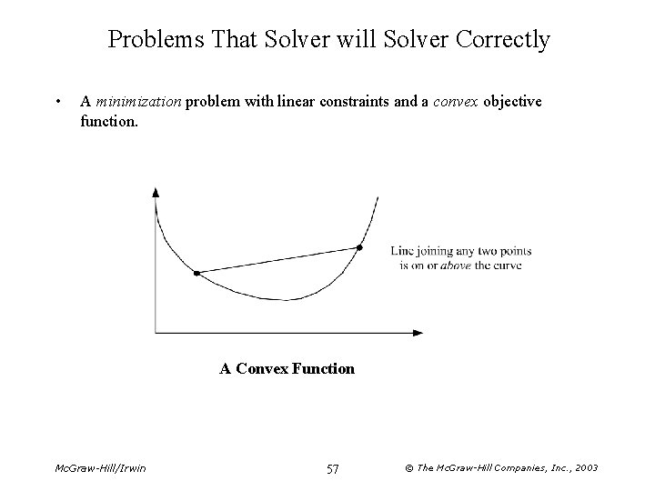 Problems That Solver will Solver Correctly • A minimization problem with linear constraints and