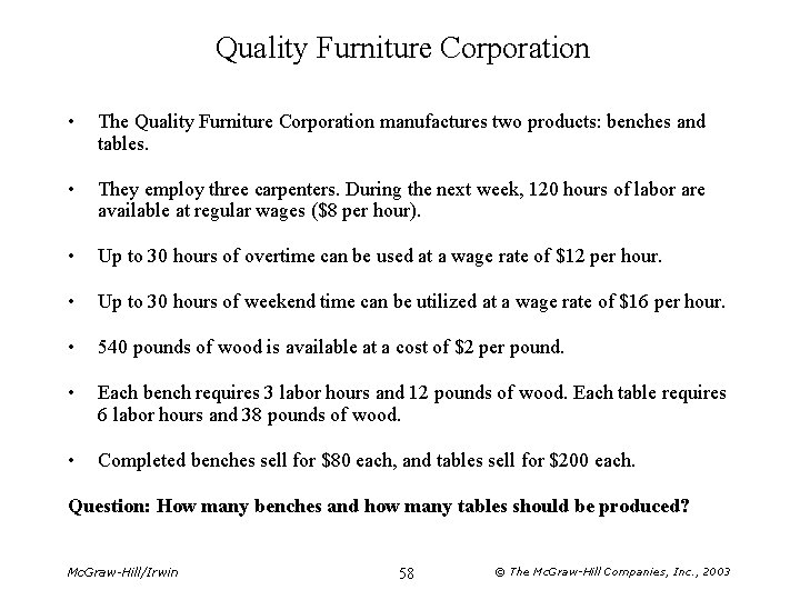 Quality Furniture Corporation • The Quality Furniture Corporation manufactures two products: benches and tables.