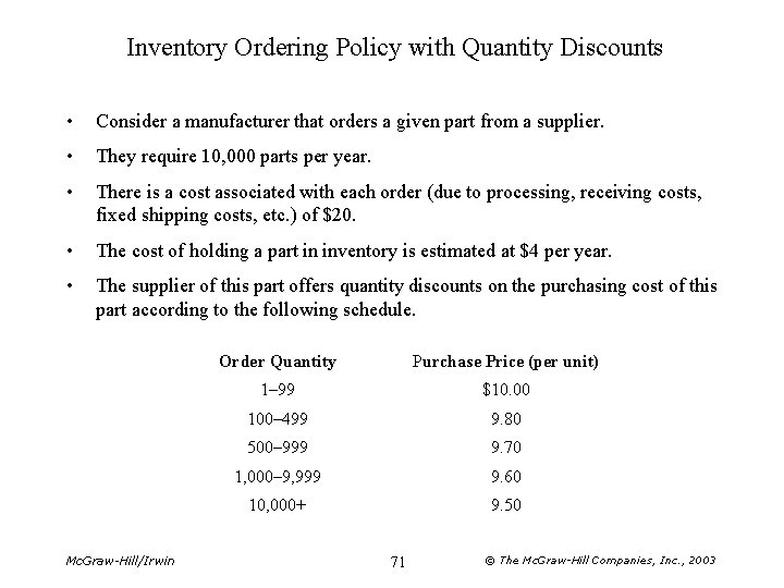Inventory Ordering Policy with Quantity Discounts • Consider a manufacturer that orders a given