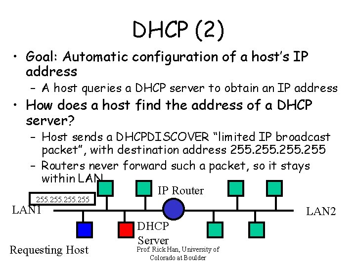 DHCP (2) • Goal: Automatic configuration of a host's IP address – A host