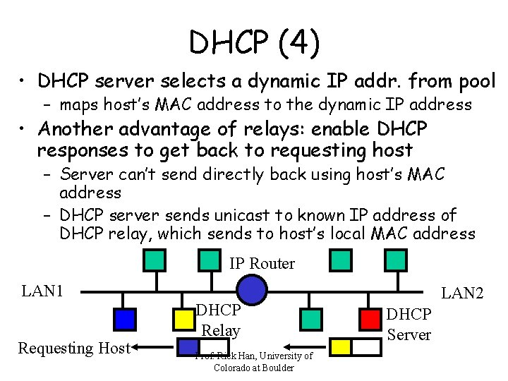 DHCP (4) • DHCP server selects a dynamic IP addr. from pool – maps