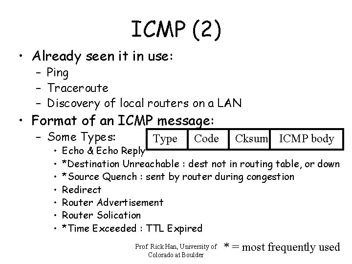 ICMP (2) • Already seen it in use: – Ping – Traceroute – Discovery