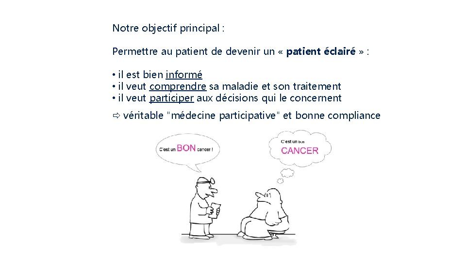 Notre objectif principal : Permettre au patient de devenir un « patient éclairé »