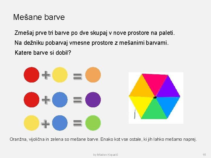Mešane barve Zmešaj prve tri barve po dve skupaj v nove prostore na paleti.