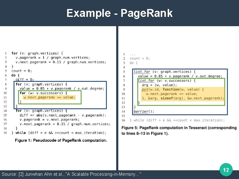 """Example - Page. Rank Source: [2] Junwhan Ahn et al. , """"A Scalable Processing-in-Memory…"""""""