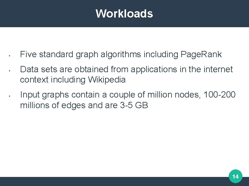 Workloads • • • Five standard graph algorithms including Page. Rank Data sets are