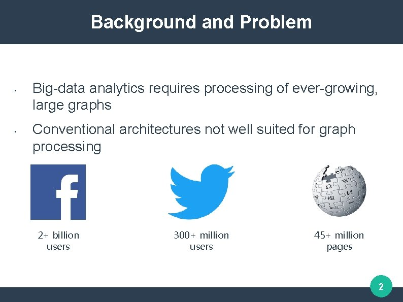 Background and Problem • • Big-data analytics requires processing of ever-growing, large graphs Conventional