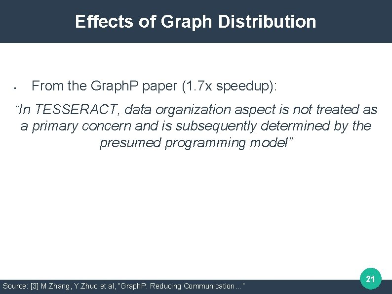 Effects of Graph Distribution • From the Graph. P paper (1. 7 x speedup):