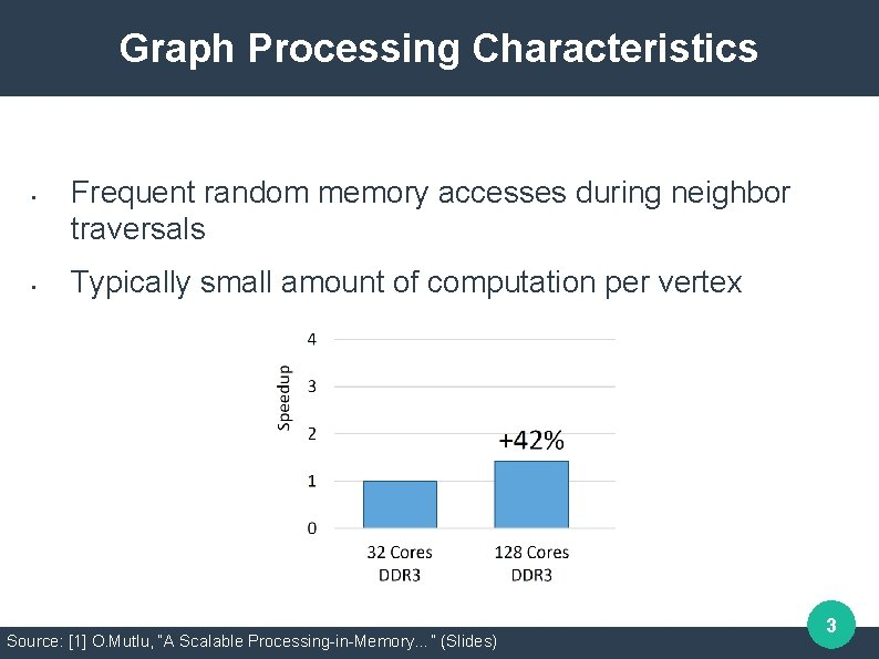 Graph Processing Characteristics • • Frequent random memory accesses during neighbor traversals Typically small
