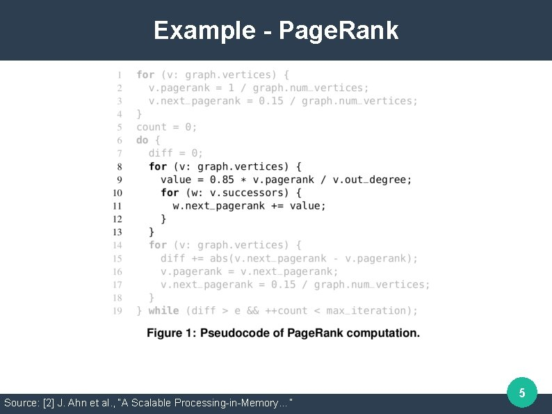 """Example - Page. Rank Source: [2] J. Ahn et al. , """"A Scalable Processing-in-Memory…"""""""