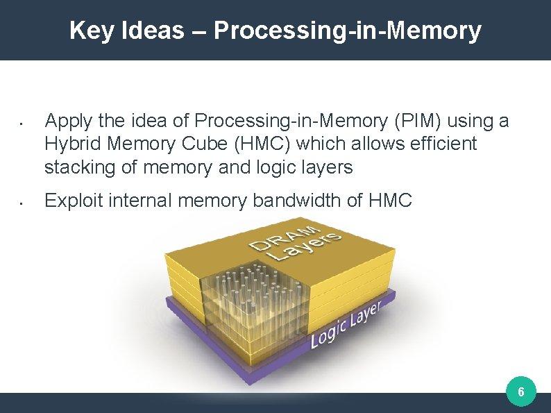 Key Ideas – Processing-in-Memory • • Apply the idea of Processing-in-Memory (PIM) using a