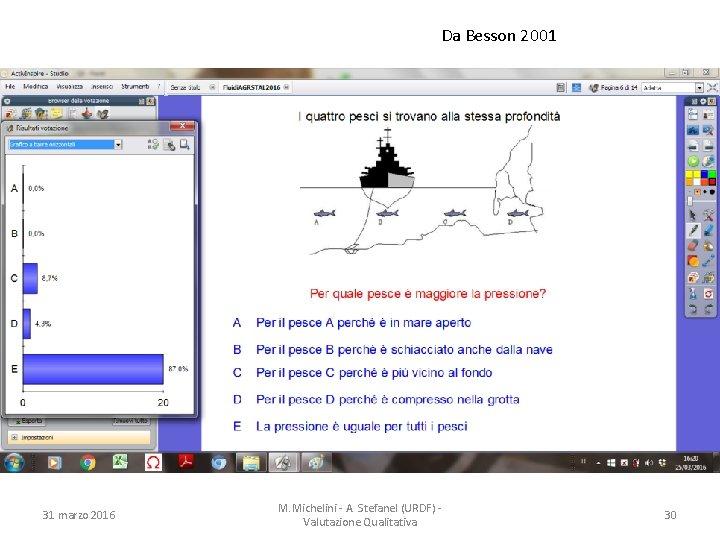 Da Besson 2001 31 marzo 2016 M. Michelini - A. Stefanel (URDF) Valutazione Qualitativa