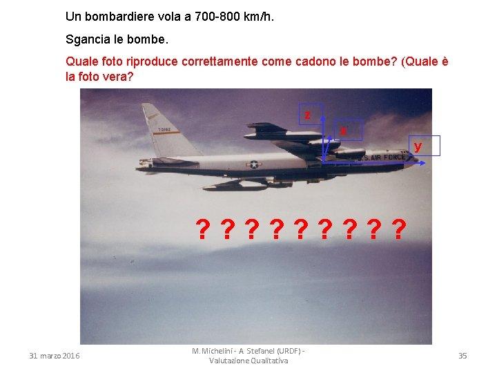 Un bombardiere vola a 700 -800 km/h. Sgancia le bombe. Quale foto riproduce correttamente
