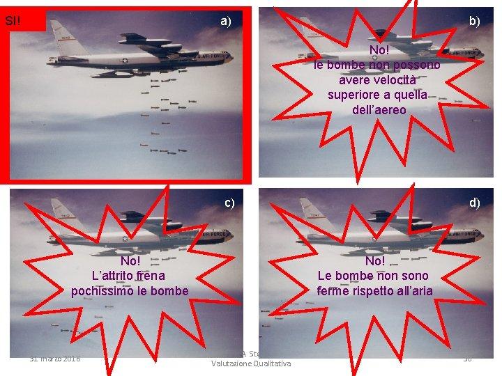 SI! a) b) No! le bombe non possono avere velocità superiore a quella dell'aereo