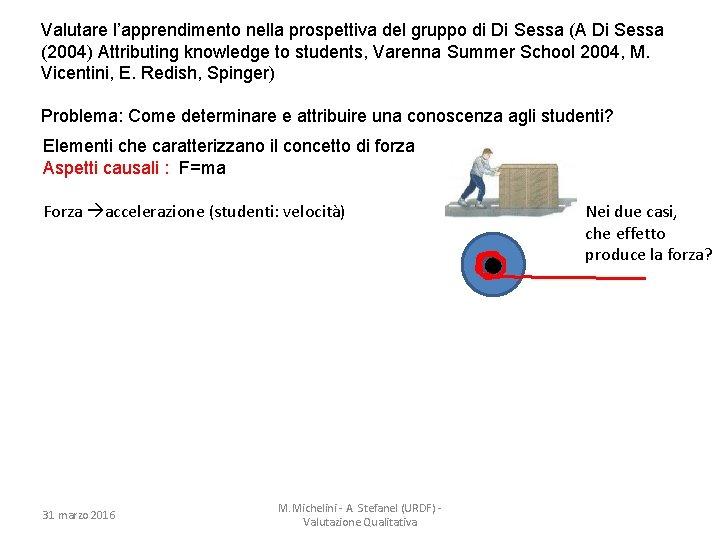 Valutare l'apprendimento nella prospettiva del gruppo di Di Sessa (A Di Sessa (2004) Attributing